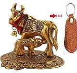 Jaipuri haat Prosper Kamdhenu Oxidised Gold Finished Brass Like Cow and Calf Figurine Decorative Gift Item (Colour Gold) 12@11 cm