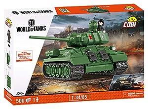 Wargaming Cobi - Tanque soviético T34/85 de 270 x 120 x 140 mm, Color Verde (3005)
