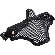 M-zone - Mascarilla protectora para airsoft (cinta elástica ajustable, rejilla metálica), color negro