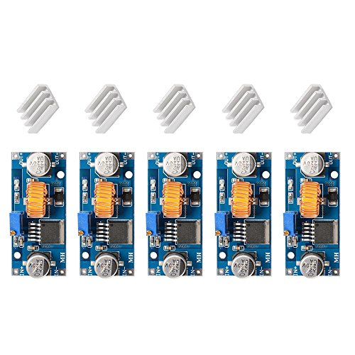 5Pcs 5A XL4015 DC-DC Step Down Buck 4-38V to 1.25-36V Power Supply Module Converter LED Lithium Charger -