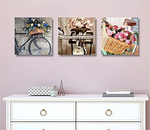 Tris bici vintage - Tre quadri moderni su tela già intelaiati 3x(25x25 cm) quadro arredamento stampa shabby chic provenzale rose fiori flower country bici retrò romantic style peony peonie rosa salotto camera letto wall art forniture home decor casa studio ufficio spa hotel regalo stampe su tela