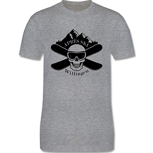 Après Ski - Apres Ski Willingen Totenkopf - Herren Premium T-Shirt Grau Meliert