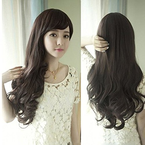 spritech (TM) neuen, stilvollen flauschig Realistische halben Kopf Perücke, langes gewelltes Haar Perücke Faser Synthetische Frauen Perücke, Deep Brown, Einheitsgröße -