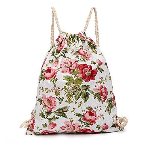 Fashion Reisetasche, tianranrt Fashion Unisex Print Leinwand drawst Sack erhängt Sport Strand Reise Outdoor Rucksack Tasche rose (Schuhe Canvas Großhandel)