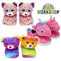 Style It Up Build A Bear Official Kids Girls Slippers Plush Rainbow Friends Unicorn 3D Cute Novelty