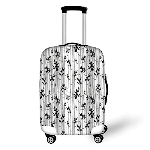 Travel Luggage Cover Suitcase Protector,Asian,Monochrome Bamboo Pattern with Leaves Asian Foliage Elements Chinese Forest Design Decorative,Black White,for Travel,M - Element Spandex Shorts