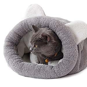 Fansport Cute Warm Plush Cat Bed (Grey)