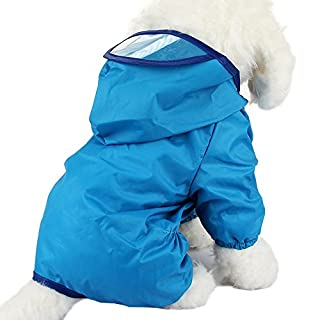 Alxcio Large Dog Raincoat Puppy Doggy Jumpsuit Hoodie Jacket for Small Medium Dogs Cats, Protect your pet from getting wet and dirty (Blue, Size M)