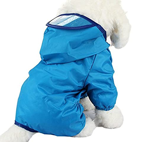 Alxcio Large Dog Raincoat Puppy Doggy Jumpsuit Hoodie Jacket for Small Medium Dogs Cats, Protect your pet from getting wet and dirty (Blue, Size