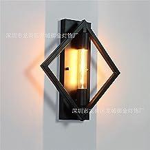 Los apliques de pared Industrial Loft apliques de pared oeste viento barra de hierro cuadrado de hierro retro apliques apliques de pared Utilice Iluminación lámpara E27,350mm*350mm