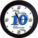 Lucky Clocks Fussball Zum Runden Geburtstag lustige Wanduhren für Fußballfans und Fußballer für Jeden Anlass mit jeder Beschriftung und Jedem Vornamen Namen erhältlich