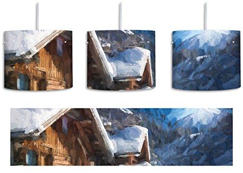Gipfel Luft (Verschneite Hütten in winterlicher Alpenlandschaft inkl. Lampenfassung E27, Lampe mit Motivdruck, tolle Deckenlampe, Hängelampe, Pendelleuchte - Durchmesser 30cm - Dekoration mit Licht ideal für Wohnzimmer, Kinderzimmer, Schlafzimmer)