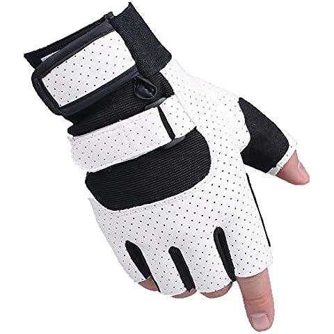 YONG Guanti con dita metà uomo / / fitness mano scivolare riding Guida , white mesh