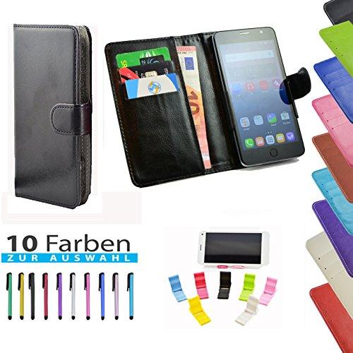 ikracase 5 in 1 Set Hülle Slide Handyhülle für TP-Link Neffos Y5s Smartphone Hülle Tasche Case Cover Schutzhülle Handytasche Etui in Schwarz