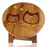 ART-CRAFT KH026 Kinderhocker Holz Schemel mit Tiermotiv schlafende Eulen Bemalt und beschnitzt Höhe 27 cm