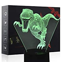 3D Night Light, LED Lamp for Kids, Dinosaur Toys for Boys, 7 Colors Touch Table Desk Lighting, Velociraptor Illusion Neon with USB, Baby Bedroom Sleep Lights, Cool Animal Holiday Gifts for Children