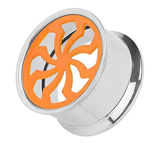 Piercingfaktor Flesh Tunnel Ohr Schraub Ear Plug Piercing Edelstahl Schraubverschluss Turbine Propeller Tribal Triskele Silber Neon Orange 10mm