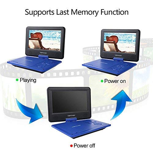 DBPOWER 9 5  Portable DVD Player  5 Hour Rechargeable Battery  Swivel Screen  Supports SD Card and USB  Direct Play in Formats AVI RMVB MP3 JPEG  Blue