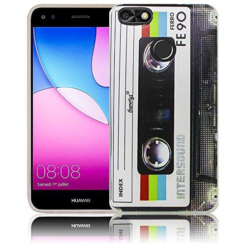 thematys Passend für Huawei Y6 Pro 2017 / Huawei P9 Lite Mini Kassette Silikon Schutz-Hülle weiche Tasche Cover Case Bumper Etui Flip Smartphone Handy Backcover Schutzhülle Handyhülle