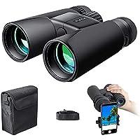 Prismáticos 10x42 – Binoculares Profesionales,HD compactos con soporte para teléfono inteligente para observación de aves, camping, senderismo-BAK4 Prisma Lente FMC con correa para el cuello / bolso de transporte