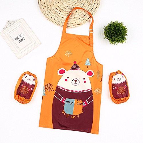 SunnyGod Hausfrau-Schürze Animals Printed Schürze Anzug - Waterproof Schürze mit Ärmeln (Orange)
