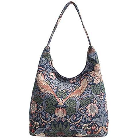 Bolso tapiz de hombro Signare de moda para mujer asa superior bolso hobo Ladrón de fresas azul