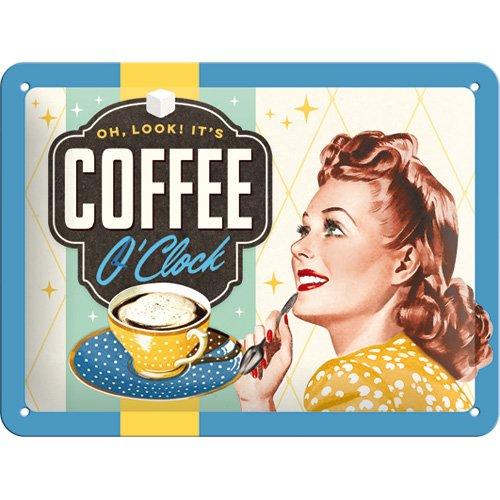 Nostalgic-Art 26183 Say it 50's, Coffee O'Clock Blechschild, 15 x 20 cm