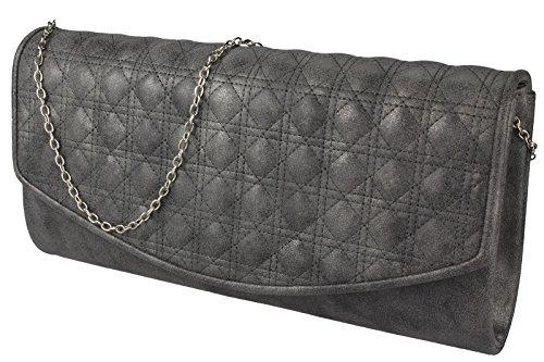 Damen Handtasche / Clutch / Brauttasche / Abendtasche mit Strass verziert in schwarz / rot / silbergrau / golbraun �?Velours Dunkelgrau