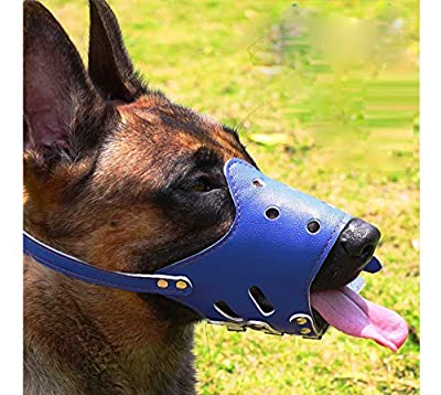Barkless Dog Muzzle Leather, Comfort Secure Anti-Barking Muzzles for Dog, Breathable and Adjustable, Allows Dringking and Eating, Used with Collars from Barkless