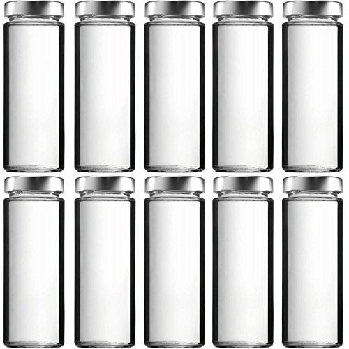 10 x Smoothieflasche 380 ml Glasflaschen mit PVC-freiem Schraubverschluss, inkl. Trichter
