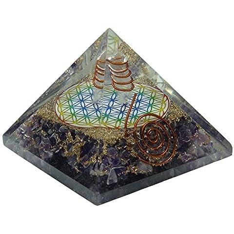 Harmonize Generatore di energia espiritual cristallino Reiki Chakra del cuore di pietra ametista Piramide Orgón REGALO ROJO DE LA BOLSA Púrpura (Amatista)
