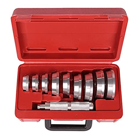 MultiWare 10 Pcs Bearing Race & Seal Driver Set Aluminium Wheel Tool Set Universal Kit 39.5 - 81mm