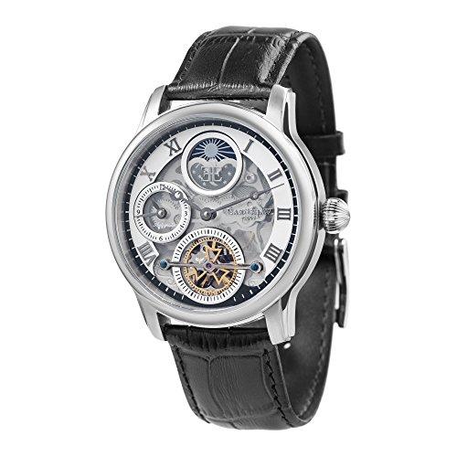 Thomas Earnshaw Longitude Shadow ES-8063-01 Herren-Armbanduhr mit Automatikgetriebe, silbernes Zifferblatt mit Skelett-Anzeige, schwarzes Lederarmband