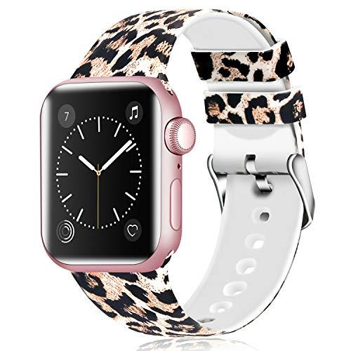 JIELIELE Bunt Armband Kompatibel für Apple Watch 38mm 42mm 40mm 44mm, Weich Silikon Ersatz Armband für iWatch Series 4, Series 3, Series 2, Series 1 (Yellow Leopard, 38mm/40mm) - Leopard 4