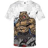 MRULIC Herren T-Shirt Sommer 3D Druck Tiermuster Shirt Tops(Weiß,EU-52/CN-3XL)