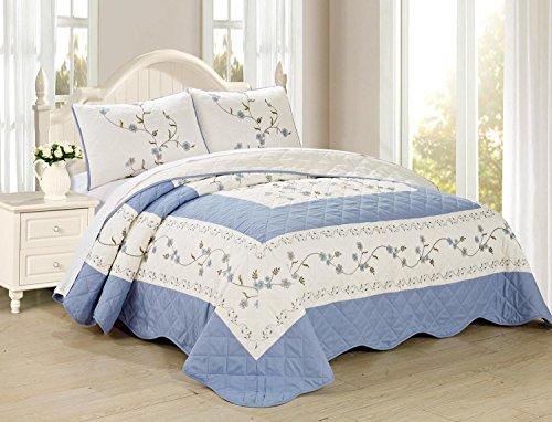 All American Collection New Heißklebestifte besticktes Floral Tagesdecke/Quilt-Set, Polyester-Mischgewebe, hellblau, 3PC Queen Size -