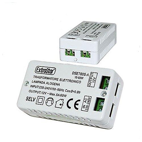 LScommerce Trasformatore Elettronico Lampada Alogena 220V 12V 5A 60W 60Hz 240V DSET60S-A