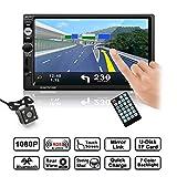 Autoradio, LESHP 7 Zoll  Auto-Spieler HD 1080P Touchscreen MP5 Player,  Unterstützung Freisprechfunktion/AM/FM/DVD/RADIO/BLUETOOTH/USB/TF/AUX IN/Ausgabe/Mirrorlink