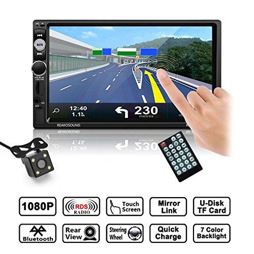 Autoradio,LESHP Auto Radio 2 Din Bluetooth 7 Pouces Ecran Tactile Full HD, IR Télécommande / FM/ AM/ RDS/ TF/ USB/avec Carte/ Voiture MP5 Player Stéréo avec Caméra de Recul