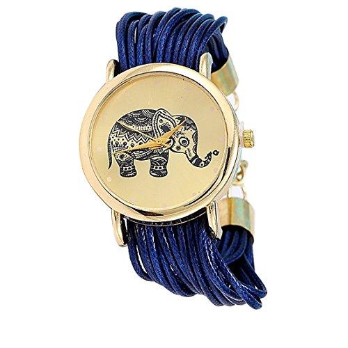 Las niñas elefante patrón cuerda trenzada pulsera cuarzo dial muñeca reloj azul oscuro