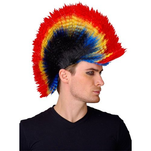 Adult Unisex Punk Mohican Wig Outfit Accessory for Fancy Dress Mens Ladies