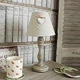 Beige Leinen Herz Tisch Lampe