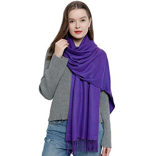 (DonDon Damen Schal einfarbig weich 185 x 65 cm lila)