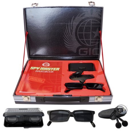 Spy Master Briefcase Black Spy kit - Secret agent mission handbook with top spy gear and gadget
