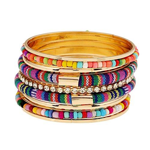 MJartoria Damen Armband Bunt Boho Armreif Mehrschicht mit CZ Kristall Anhänger Armkette
