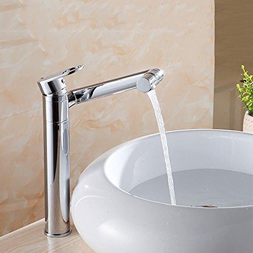 Waschbecken Wasserhahn Wasserfall tülle Single Griff EIN Loch Wasserhahn mit Lieferung Schlauch schwenkauslauf für kommerziellen Wasserhahn 12-Zoll erhöhung Deck Mount Toilette, Messing Chrom -
