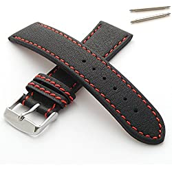 Leather Watch Strap with Coloured Stitching (28mm - Red Stitch)