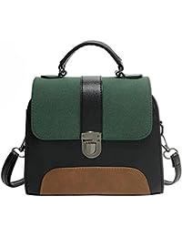 Zibuyu Casual Women Pu Leather Handbag Girl Patchwork Color Messenger Bag(Green)