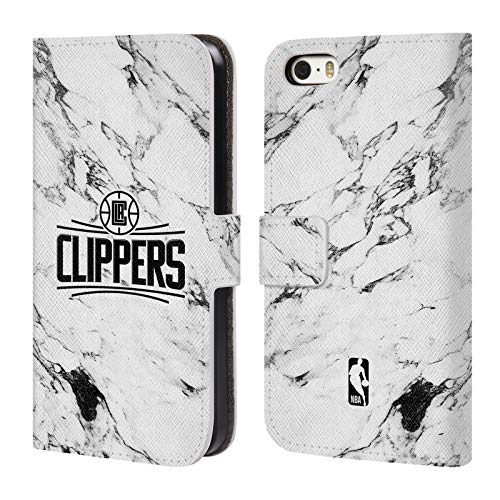 Head Case Designs Offizielle NBA Marmor Weiss 2018/19 Los Angeles Clippers Leder Brieftaschen Huelle kompatibel mit iPhone 5 iPhone 5s iPhone SE (Los Iphone Angeles Clippers 5s)