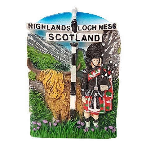 Schottland Kühlschrank Magnet–Highland Kuh, Loch Ness Schottische Distel Souvenir und - Kuh-magnet